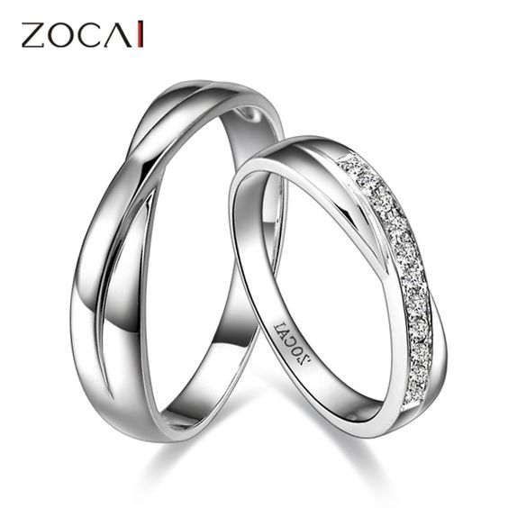 ZOCAI ENCOUNTER 0.15 CT CERTIFIED H / SI DIAMOND HIS AND HERS WEDDING BAND RINGS SETS ROUND CUT 18K WHITE GOLD US $657.99: