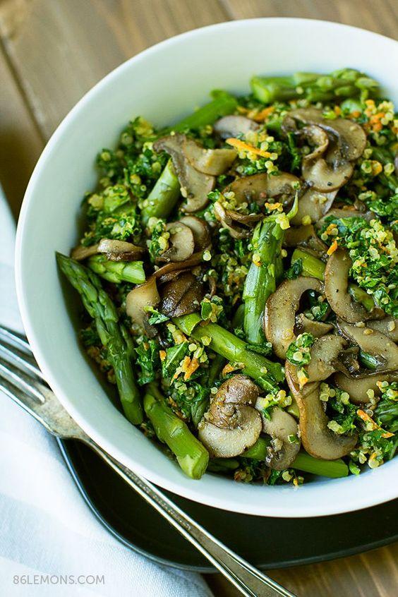 Quinoa Kale Bowl with Mushrooms and Asparagus (vegan, gluten-free)