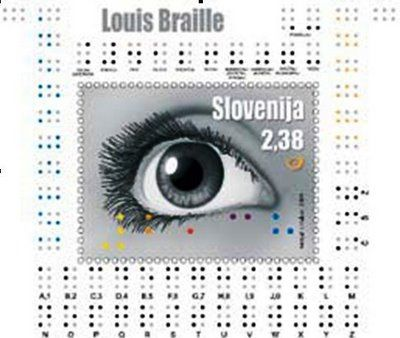 Louis Braille commemorative stamp from Slovenia