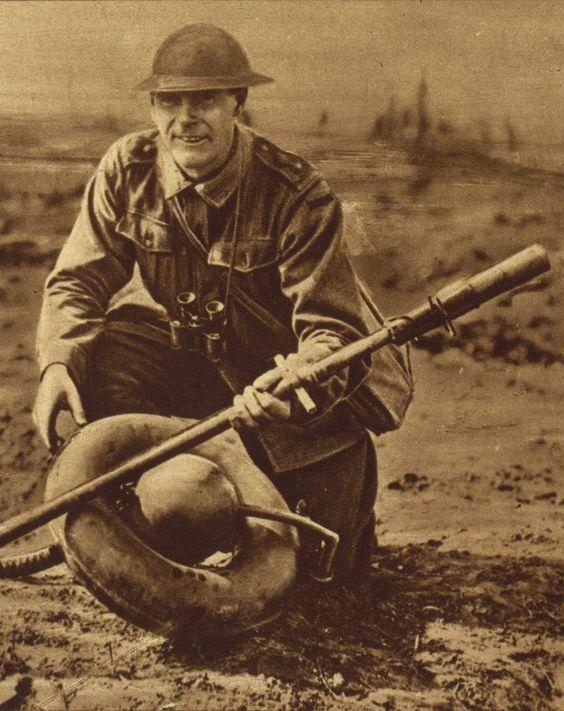 WW1. British soldier with captured German flamethrower.