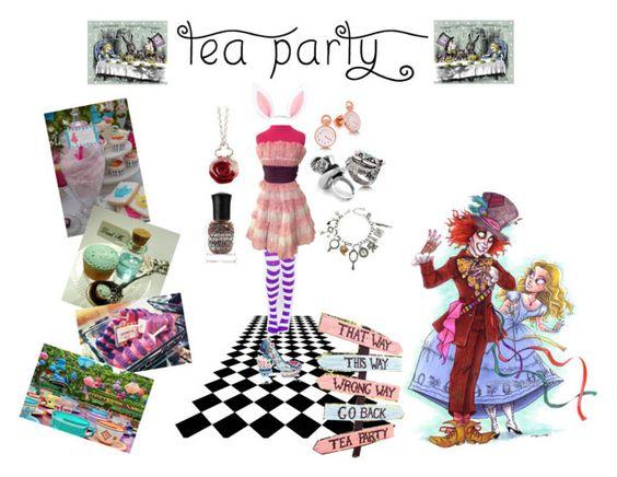 """tea party contest entry"" by odscene ❤ liked on Polyvore featuring Deborah Lippmann, Sian Bostwick Jewellery, Q&Q, Leg Avenue, Irregular Choice, Betsey Johnson, Disney, disney, aliceinwonderland and feminine"