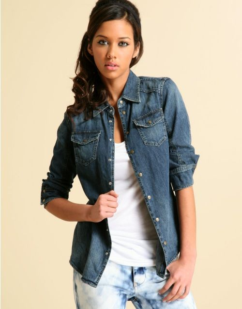 jean shirt for women | Trends: Hot Denim Shirts : Celebrities in ...