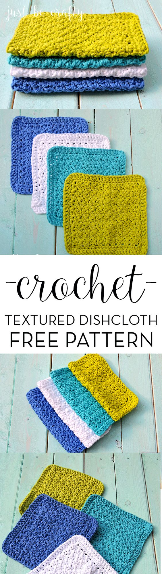 Crochet Textured Dishcloth Pattern.  Free pattern by Just Be Crafty: