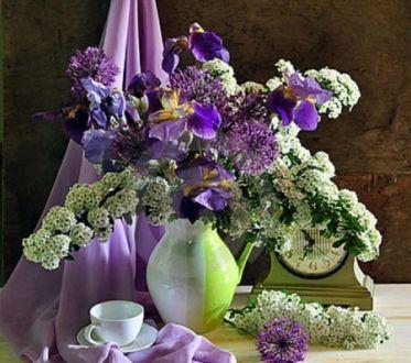 Tea Time With Summer Bouquet HD Desktop Wallpaper