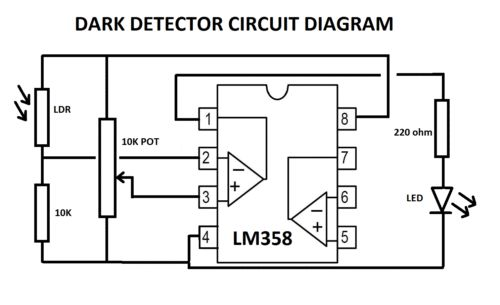 LM358-Dark-Light-Detector-Circuit-Kit | Electronics and electrical ...
