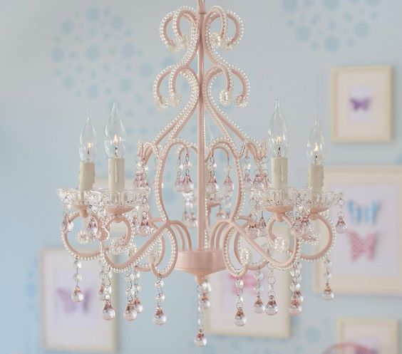 A grand chandelier bedecked in beads and glass crystals would be a beautiful touch to any girl's room to make them feel like a princess!