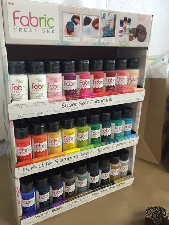Fabric Creations. Super soft fabric ink is the perfect formulation for stamping, stenciling and brushing on fabric. Fashionable colors. Machine washable. Waterbase and non-toxic .
