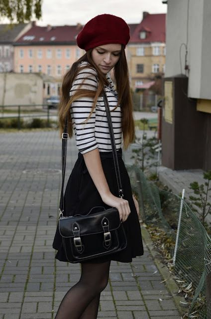 Berets red berets and black white on pinterest for French striped shirt and beret