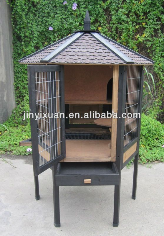 Easy clean wooden rabbit cage rabbit hutch with tray for Simple rabbit hutch