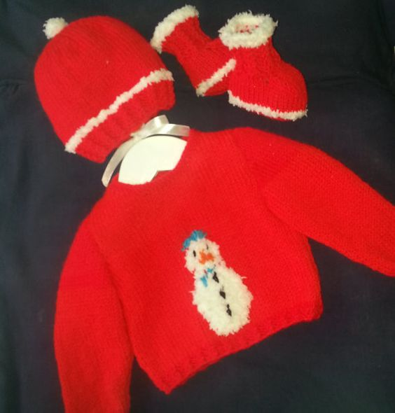 Christmas Knitting Pattern, Baby Christmas Outfit, Snowman ...
