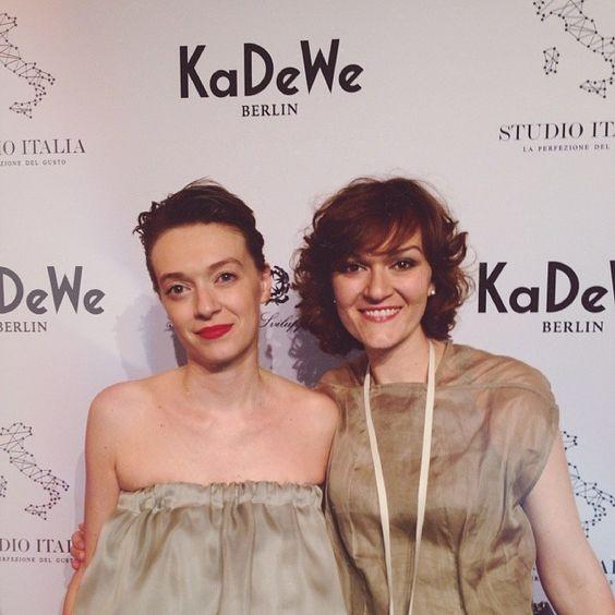 Vera and Marianna at Kadewe Studio Italia event in Berlin. 2014 April 2nd.  #thegiustisisters #kadewe #studioitalia #berlin #attiliogiustileombruni #agl #madeinitaly