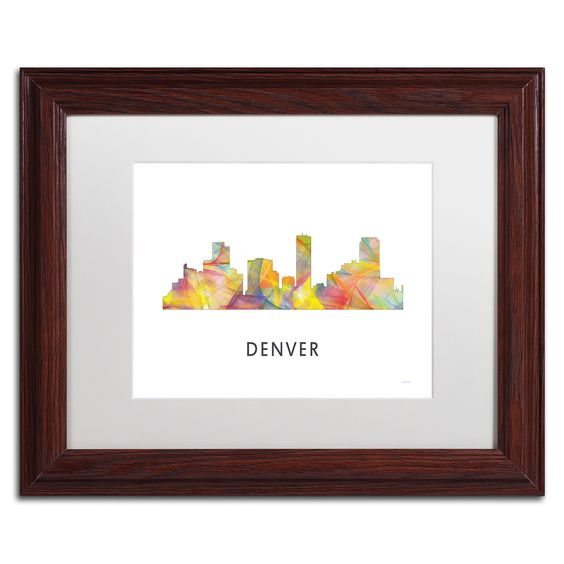 Trademark Marlene Watson 'Denver Colorado Skyline WB-1' Matted Framed Art