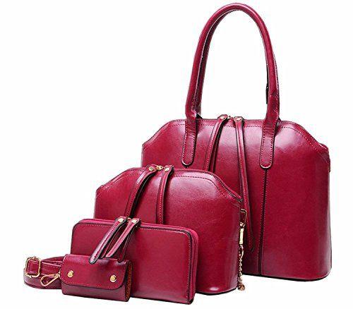 4-teiliges-Damen-Handtaschenset-im-Vintage-Style-PU-Leder-Henkeltasche-Crossbody-Tasche-Handgelenktasche-0