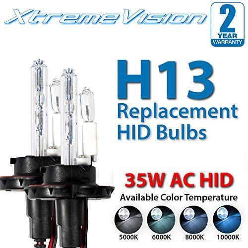 Xtremevision Ac Hid Xenon Replacement Bulbs H13 9008 5000k Bright White 1 Pair 2 Year Warranty Bulb Hid Xenon Hid Bulbs