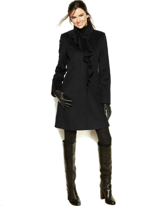 DKNY Black Cascading Ruffle Wool Coat | Coats Products and Ruffles