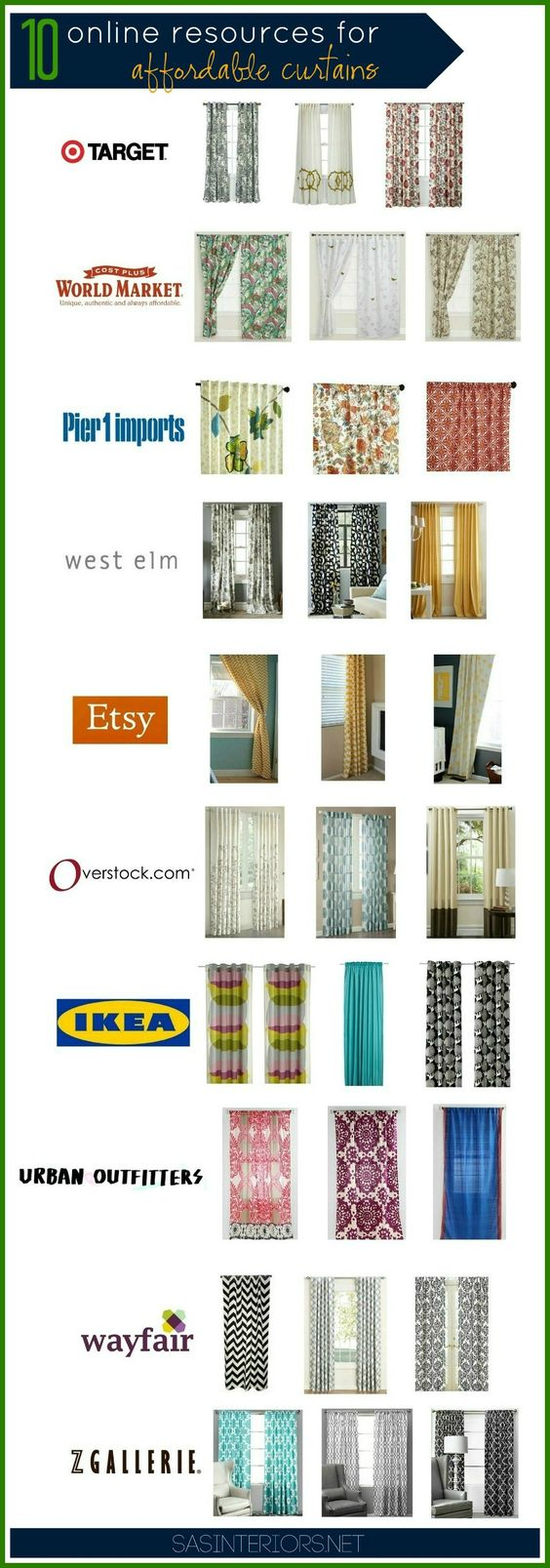 Great Resource for finding affordable curtains online @Jenna_Burger, sasinteriors.net