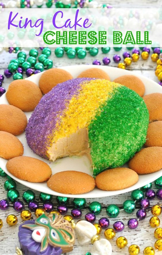 Festive King Cake Cheese Ball has the flavor and colors of a King Cake, but in an easy to make cheese ball. Great dessert to celebrate Mardi Gras!: