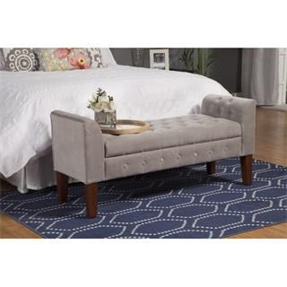 Check out the Kinfine K6211-B21 Velvet Tufted Settee Storage Bench in Brown priced at $169.09 at Homeclick.com.