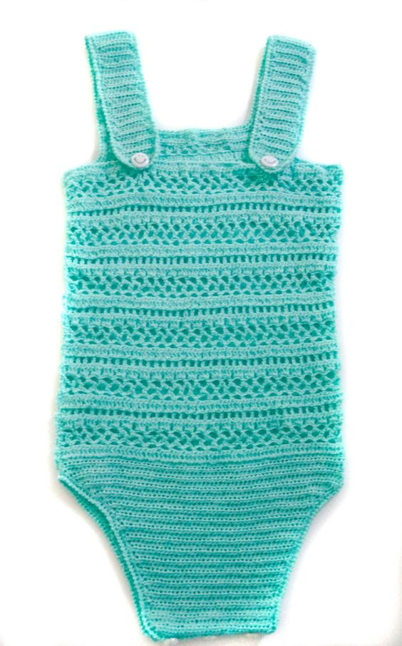 Crochet Baby Bodysuit  Turquoise Mercerized by HunnybeeCrafts