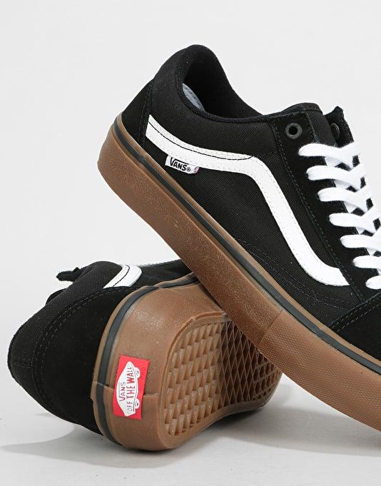 Vans Old Skool Pro Skate Shoes BlackWhiteMedium Gum