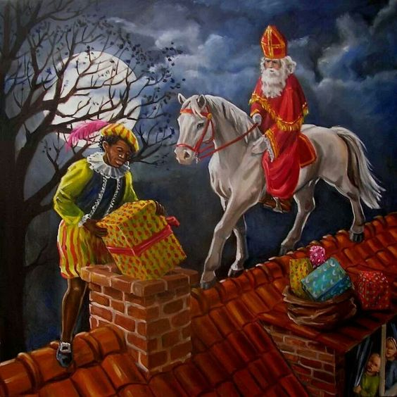 Sinterklaas met zijn schimmel en Piet op het dak om cadeautjes te geven aan de kids.:
