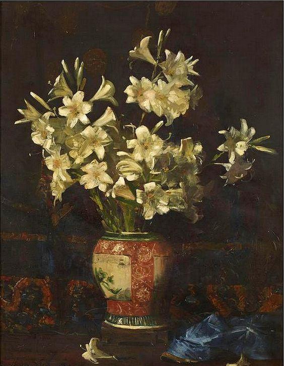 Sir Arthur Ernest Streeton (1867-1943) —  Still Life with Lilies, c.1933  (659x850)