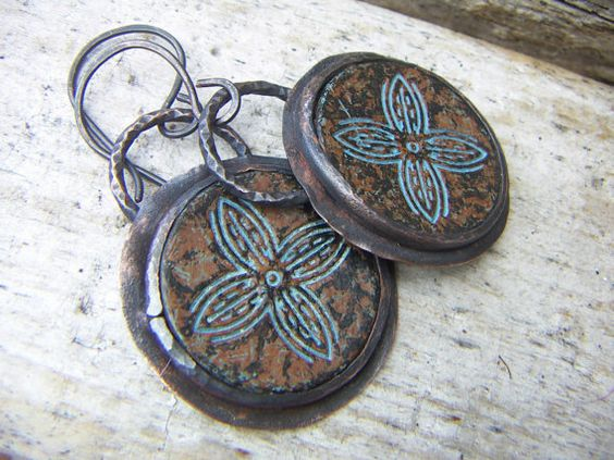 RESERVEDRustic Round  Copper Button Earrings by annamei on Etsy