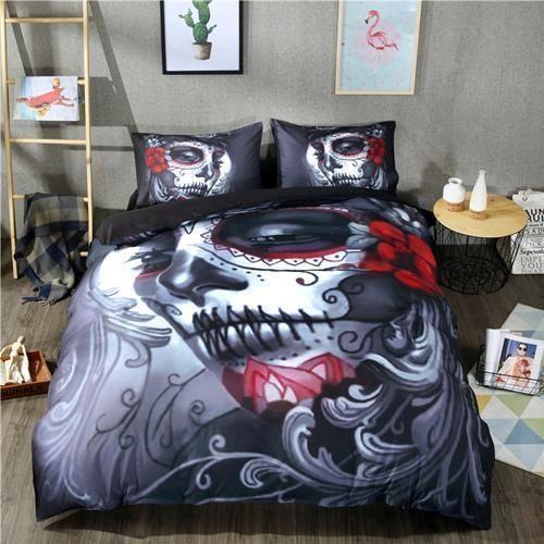 3d Skull Makeup Bedding Set King Size 4pcs Skull Bedding Sets Skull Bedding Duvet Cover Sets