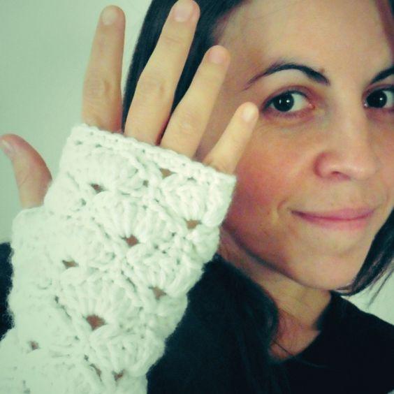 mitones de abanicos a crochet (guantes sin dedos)