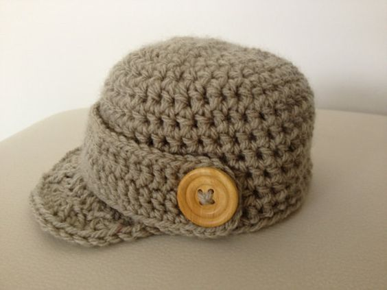 Boys newsboy cap with peak and button detail. Fawn cap with wooden button detail. Other colours available. on Etsy, $18.00 AUD