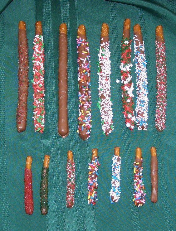 Christmas Chocolate Dipped Pretzel Rods