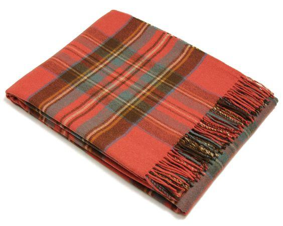 Bronte Throw Blanket - Tartan Throw - Merino (Antique Royal Stewart)
