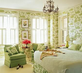 Super chic Green and White Bedroom from Elle Decor via The Glam Pad.