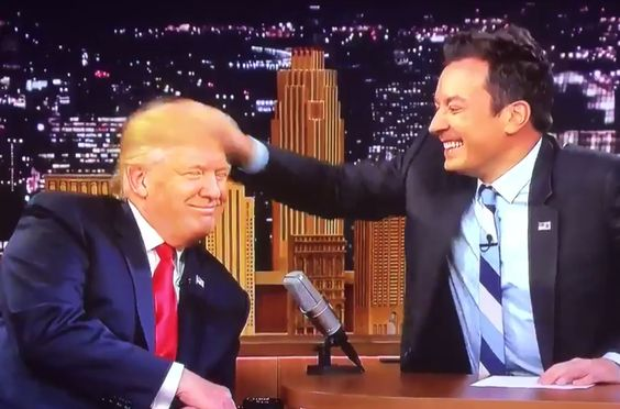 Viewers blast Jimmy Fallon for being chummy with Trump as he messes up his hair on TV