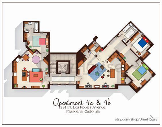 Big bang theory art print apartment floor plan tv for Large apartment floor plans