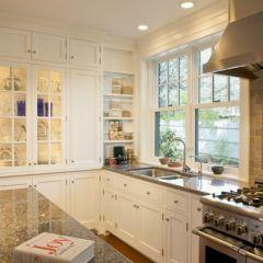 brown granite w/ white cabinets