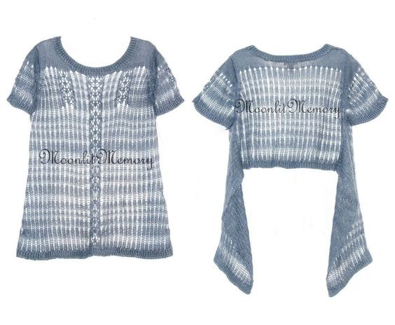 New Sundance Catalog Sweater size XL Blue Top Linen Open Stitch Knit Lagenlook #Sundance #Tunic