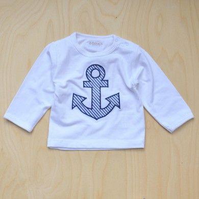 wunderschönes, unisex Basic langarm Shirt mit Knöpfen an der Schulter für einfacheres An- und Ausziehen, mit appliziertem Anker aus unserem marine farbenem S