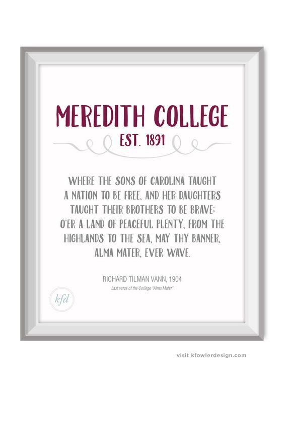 Meredith College Alma Mater digital, instant download print