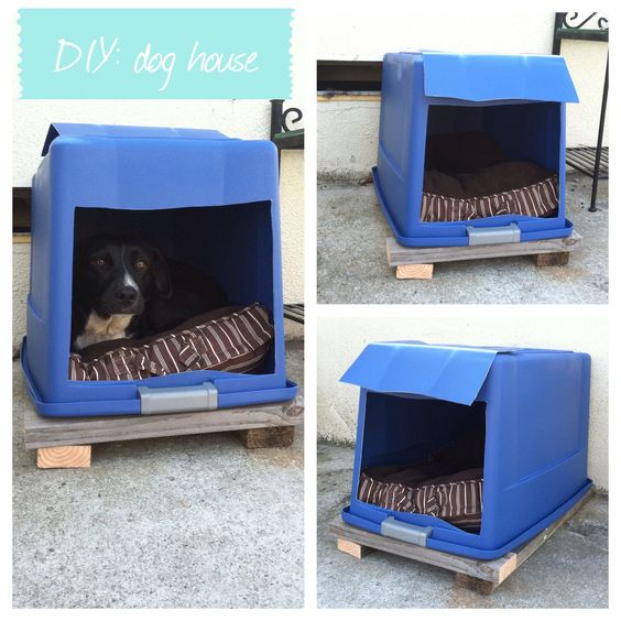 Diy Dog House Plastic Bin With Lid Attached Cut A Hole