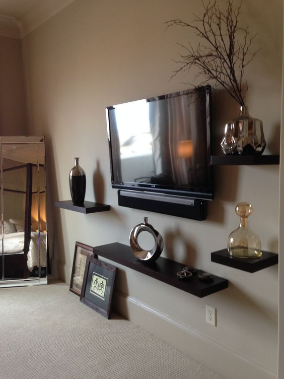 3rd Floor Master Bedroom Suite Floating Wood Shelves