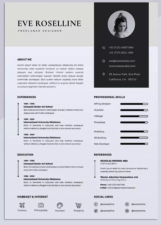 Minimalist Cv Resume Vol 18 By Rahardicreative On Envato Elements Cv Resume Template Resume Resume Design Free