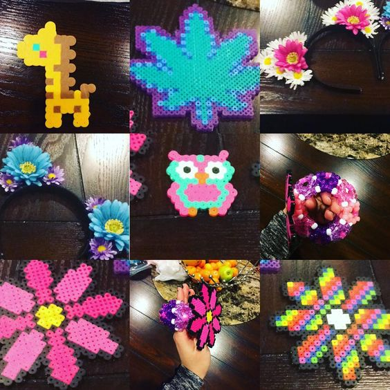 Been #crafting for #EDC FOREVER!!!! Almost ready!!!! #love #rave #festival #PLUR #catears #perler #kandi #kandikid #owl #daisy