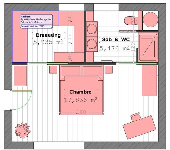 Plan suite parentale avec salle de bain et dressing 4 for Amenagement suite parentale 15m2