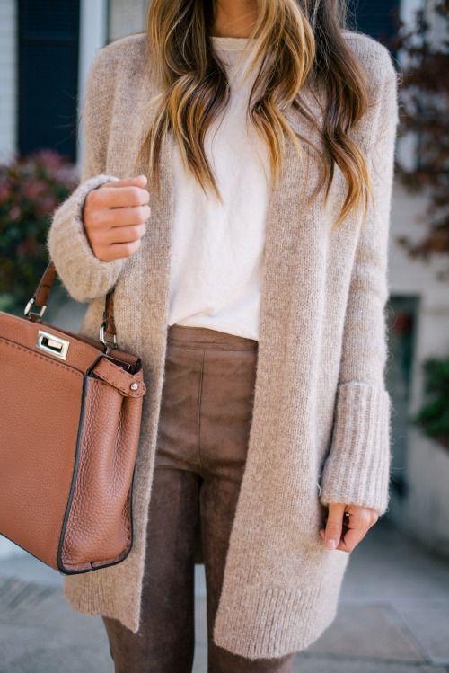 tan boyfriend cardigan, white top, cognac slacks