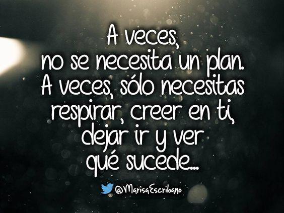 A veces, no se necesita un plan... A veces.....