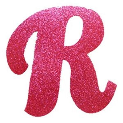 Letra cursiva em gliter r pink alfabeto pinterest for C m r bagnolet