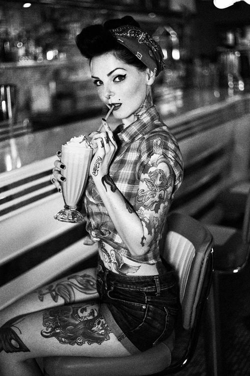 Rockabilly milchshakes and tattoos on pinterest Country style fashion tumblr