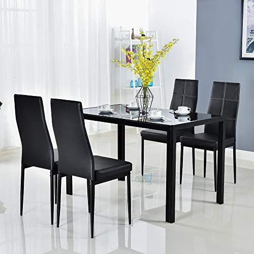Bonnlo Modern 5 Pieces Dining Table Set Glass Top Dining Table And