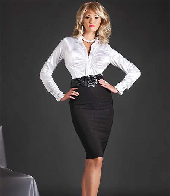 White Satin Pencil Skirt 48